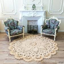 nursery area rugs big crochet rug round in doily yarn lace mat cottage carpet rustic fl nursery area rugs