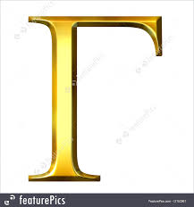 letters and numbers 3d golden greek letter gamma isolated in white