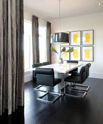 impressive yellow bachelor pad wall art frame on white wall color in dining room with black cushion chairs and white gloss table on black floor also black  on rectangular framed wall art with impressive yellow bachelor pad wall art frame on white wall color in