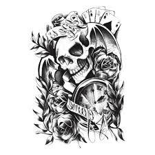 1 шт водостойкий череп цветочные татуировки руки моющиеся съемные модные