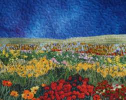 Framed Landscape Quilt Small Quilt Fabric Collage Textile & Landscape Quilt Flower Meadow, Wall Hanging, Framed Quilt, Textile Wall  Art, Small Adamdwight.com
