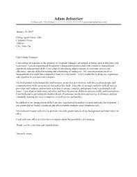Management Cover Letter Hospitality Management Cover Letter Cover