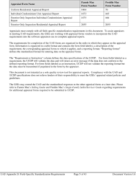 Fannie Mae And Freddie Mac Uniform Appraisal Dataset Specification ...