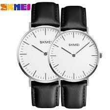 skmei watches women men black leather quartz wrist watch