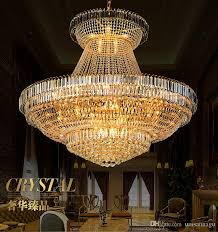 led modern gold crystal chandeliers lighting fixture round crystal chandelier droplight home indoor hotel restaurant big crystal lamp d140cm ceiling