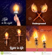 Fire Lighting Torch Torch Light Design Concept Stock Vector Illustration Of