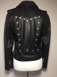 belle vere womens black soft leather studded motorcycle biker jacket coat zoom images