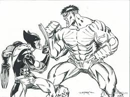 Small Picture hulk and wolverine coloring pages Lineart Hulk VS