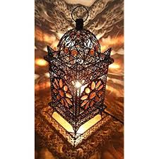 vintage moroccan jewelled table light bronze metal with brown pertaining to lamp decor 1