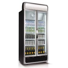 husky double glass door commercial refrigerator in black