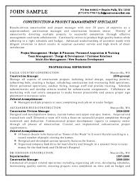 Template Management Resume Construction Project Manager Template