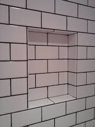 grout size white porcelain subway tiles with black grout for shower room wall