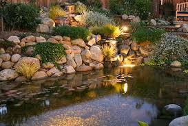 Koi pond lighting ideas Waterfall Lighting The Pond Guy Fish Pond Lights The Pond Guy