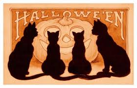 vintage halloween black cat. Fine Cat Vintage Halloween Scene  453 Pumpkin Black Cats Counted Cross Stitch  Pattern Throughout Cat A