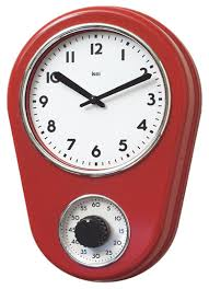 amazoncom bai retro kitchen timer wall clock black home  kitchen