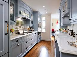 Traditional Galley Kitchen Design Decorated With Grey Color Made From  Wooden Material And White Marble Countertop