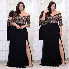 ball gown for plus size black lace plus size prom dresses with half sleeves off the shoulder