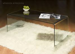 ... Coffee Table, Cozy Clear Rectangle Contemprary Bent Glass Coffee Table  Design To Fill Living Room ...