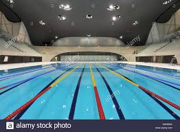 The Swimming Stadium Aquatics Centre Designed By Architect Zaha Hadid Is  Seen With The Swimming Pool For The Swimming Competitions At The Olympic  Park In