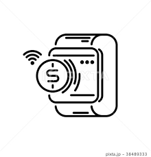 Payment Methods Thin Line Icon Smartwatch Payのイラスト素材