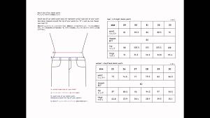Size Chart Denim Pants For Mens Womens Youtube