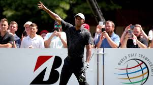 tiger woods fires 68 trails by five shots at wgc bridgestone invitational halfway point