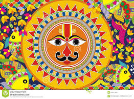 indian folk painting madhubani painting sun