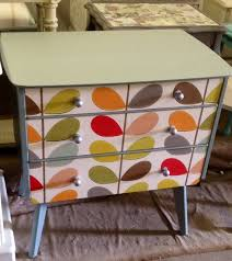living room orla kiely multi: retro drawers with orla kiely wallpaper added to drawer fronts