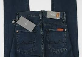 Details About New 7 Seven For All Mankind Jeans High Waist Straight Size 23 Dark Wash Womens