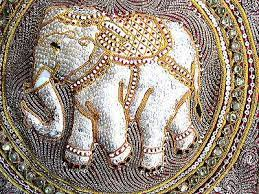 thai elephant sequined embroidered wall
