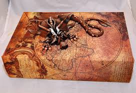 brown dragon on old world map book 2