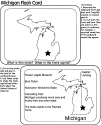 Small Picture US State Flash Cards Michigan Coloring Page crayolacom