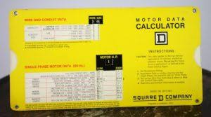 1975 Square D Company Slide Chart Motor Data Calculator