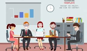 Cartoon Office Team Work Drawing Staffs Office Workplace Colored Cartoon Vectors