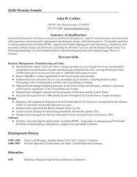 Cover Letter Sample Of Skills Resume Sample Of Skills On Resume