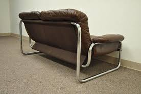 mid century modern brown leather tubular chrome settee after rodney kinsman in good condition for