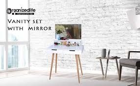 organizedlife white large makeup vanity table desk with drawerirror jewelry armoire