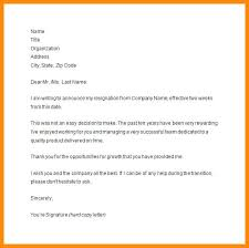 Sample Resignation Letter 2 Weeks Notice Classy Resignation Letter Sample Template 48 Week Notice Letter Weeks Notice