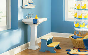 bathroom designs for kids. Kids Bathroom Sets And Decor Displaying Astounding Blue Ideas With Pedestal Sink Under Floating Shelves As Well Cute Duck Patterned Bath Designs For C