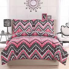 pattern pink and black comforter set