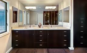 Fascinating Bathroom Mirror With Lights Many Sets Of Drawers In Wood