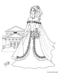 Disegni Da Colorare Principessa Con Un Mazzo Di Fiori Con Disegni Di