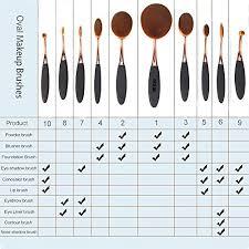 yoseng 10 pcs new fashionable super soft oval toothbrush makeup brush set foundation brushes contour powder blush conceler brush makeup cosmetic tool set
