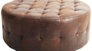 round leather tufted ottoman. Round Tufted Ottoman Coffee Table Leather Brown With Storage .