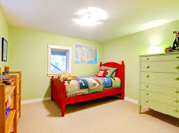 girls room playful bedroom furniture kids: simple childrens bedroom in light green design with playful red bed
