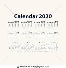 12 Months 2020 Calendar Clip Art Vector 2020 Calendar Template Calendar 2020 Set