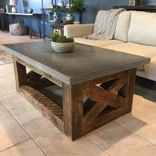 concrete coffee table reclaimed wood