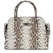 details about michael kors new gia satchel python auth black white leather bag handbag purse