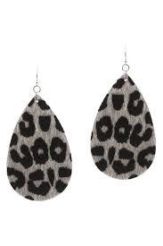 suzie q grey leopard leather earrings