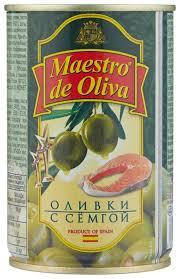 <b>Maestro De Oliva Оливки</b> с сёмгой в рассоле, жестяная банка 300 г